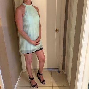 Teal pleated dress
